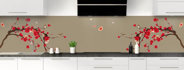 Crédence de cuisine Cerisier japonnais couleur marron glacé panoramique motif inversé