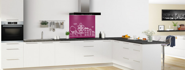 Crédence de cuisine Dessin de ville couleur prune fond de hotte en perspective