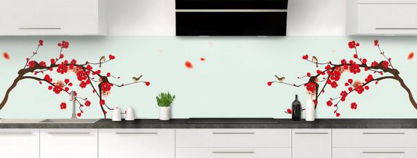 Crédence de cuisine Cerisier japonnais couleur vert eau panoramique