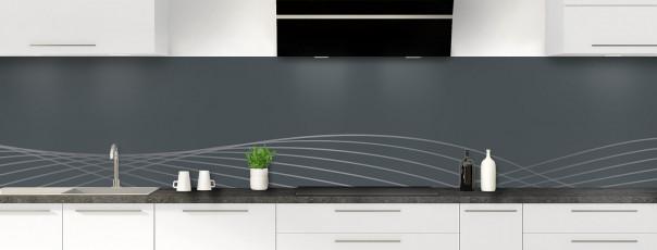 Crédence de cuisine Courbes couleur gris carbone panoramique motif inversé