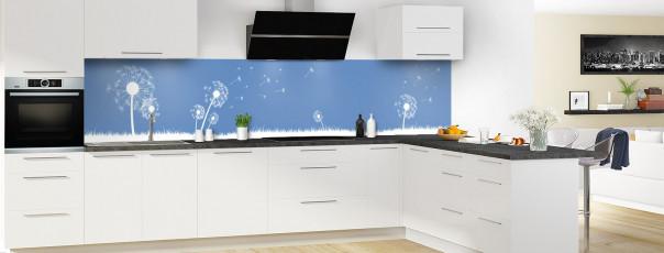 Crédence de cuisine Pissenlit au vent couleur bleu lavande panoramique en perspective