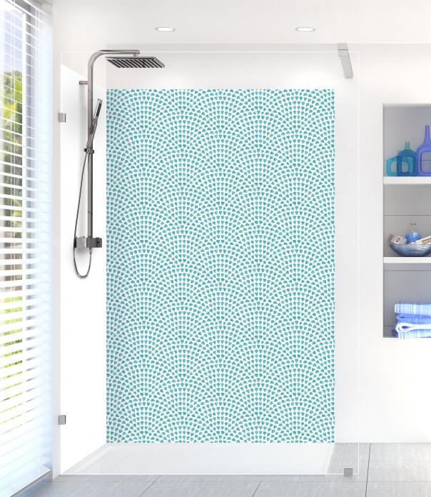Panneau de douche Mosaïque petits cœurs couleur bleu lagon