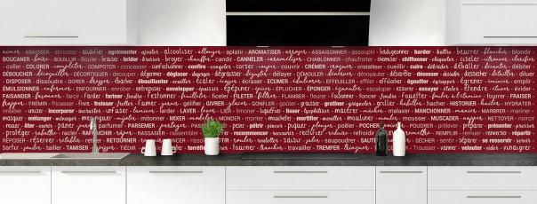 Crédence de cuisine Etapes de recette couleur rouge pourpre panoramique