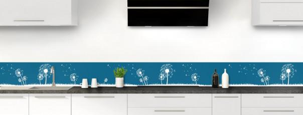 Crédence de cuisine Pissenlit au vent couleur bleu baltic dosseret motif inversé