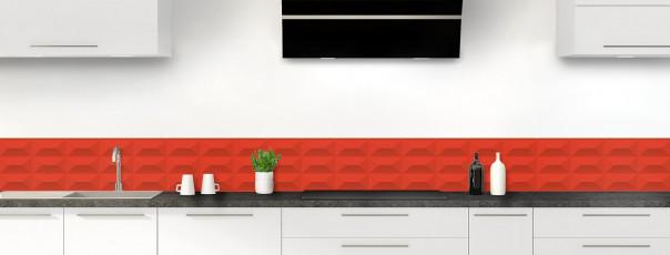 Crédence de cuisine Briques en relief couleur rouge vif dosseret