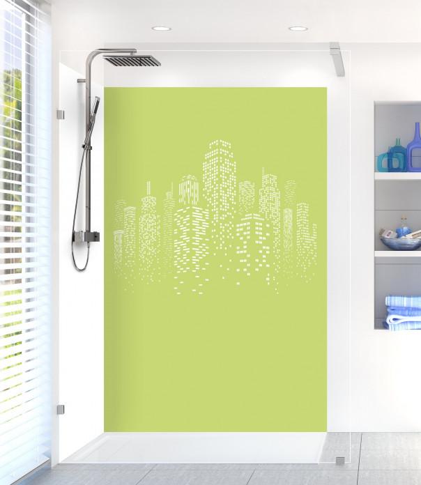 Panneau de douche Gratte-ciels couleur vert olive motif inversé