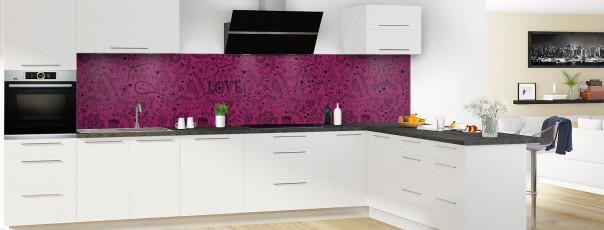 Crédence de cuisine Love illustration couleur prune panoramique en perspective