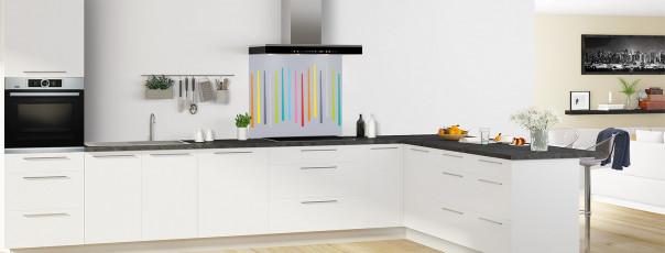 Crédence de cuisine Barres colorées couleur gris métal fond de hotte en perspective