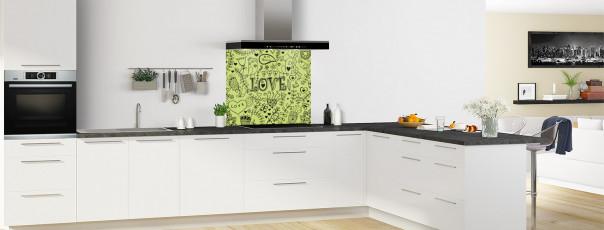 Crédence de cuisine Love illustration couleur vert olive fond de hotte en perspective