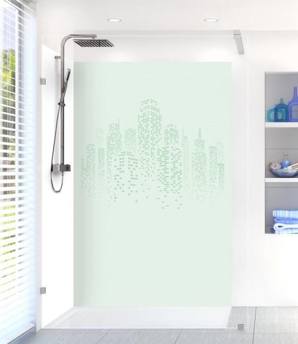 Panneau de douche Gratte-ciels couleur vert eau