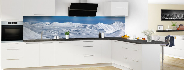 Crédence de cuisine Montagnes enneigées couleur panoramique motif inversé en perspective