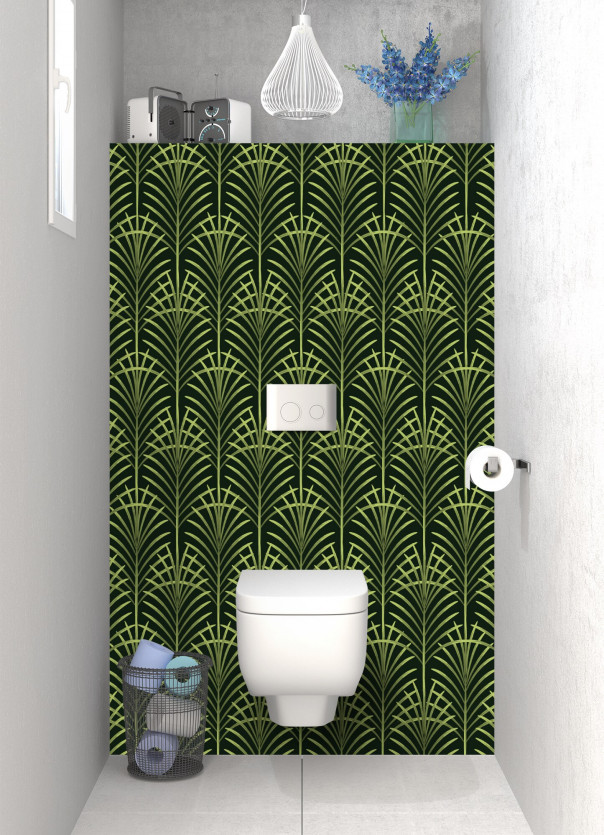 Panneau WC Feuilles de paume couleur vert olive