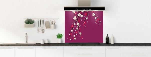 Crédence de cuisine Arbre fleuri couleur prune fond de hotte motif inversé