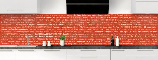 Crédence de cuisine Recettes de cuisine couleur rouge brique panoramique