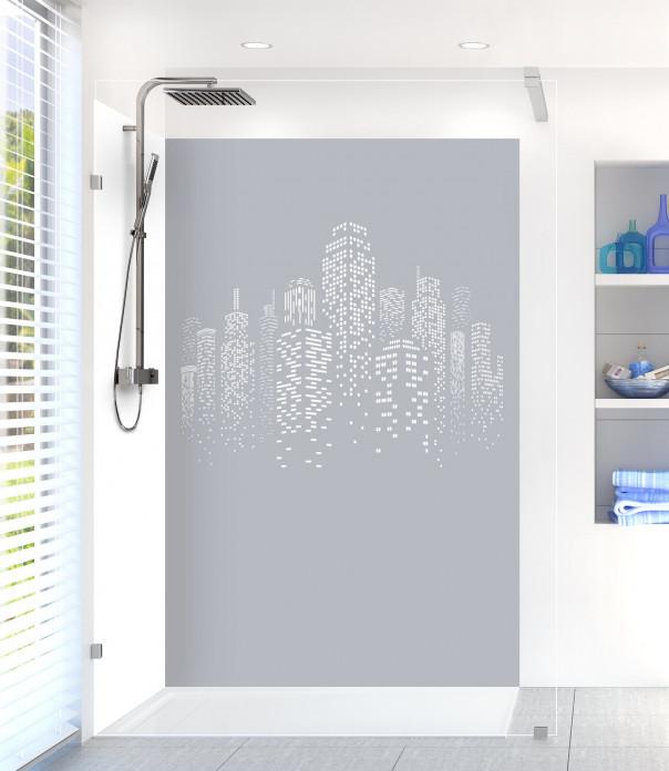 Panneau de douche Gratte-ciels couleur gris métal motif inversé