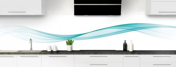 Crédence de cuisine Vague graphique couleur bleu lagon panoramique motif inversé