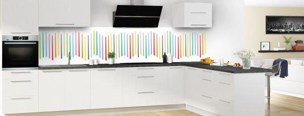 Crédence de cuisine Barres colorées couleur blanc panoramique en perspective