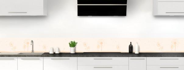 Crédence de cuisine Pissenlit au vent couleur magnolia dosseret motif inversé