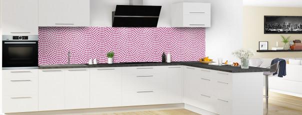 Crédence de cuisine Mosaïque petits cœurs couleur prune panoramique en perspective