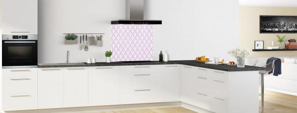 Crédence de cuisine Ecailles Magnolia couleur parme fond de hotte en perspective