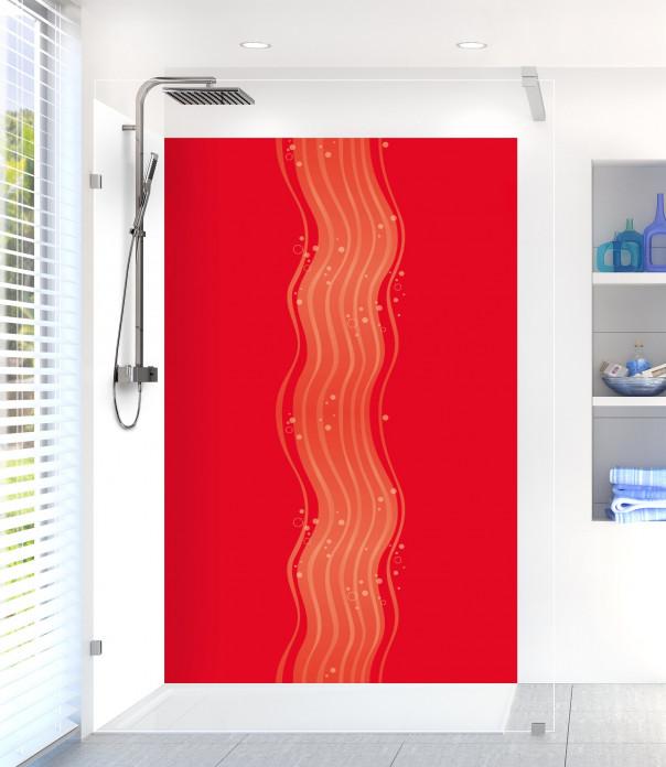 Panneau de douche Vagues design couleur rouge vif