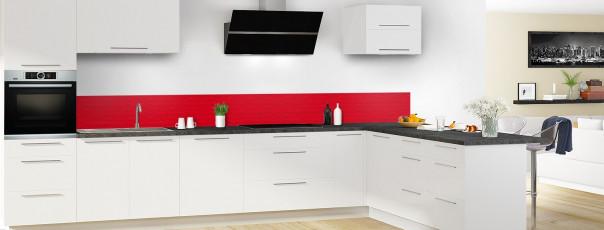 Crédence de cuisine Motif vagues couleur rouge vif dosseret en perspective
