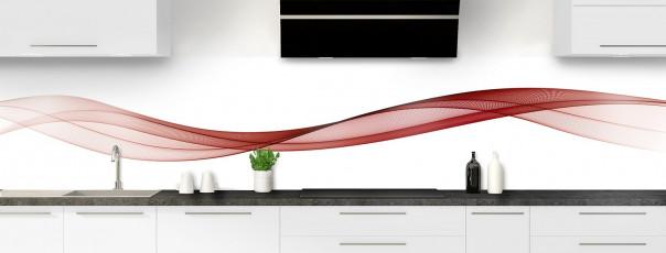 Crédence de cuisine Vague graphique couleur rouge carmin panoramique motif inversé