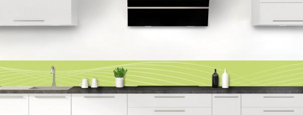 Crédence de cuisine Courbes couleur vert olive dosseret motif inversé