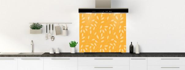 Crédence de cuisine Rideau de feuilles couleur abricot fond de hotte