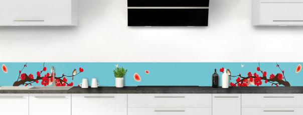 Crédence de cuisine Cerisier japonnais couleur bleu lagon dosseret