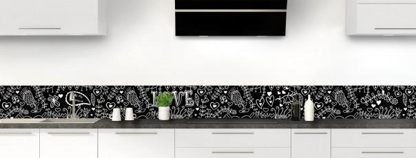 Crédence de cuisine Love illustration couleur noir dosseret