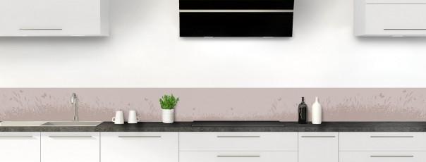 Crédence de cuisine Prairie et papillons couleur argile dosseret motif inversé