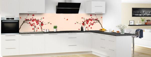 Crédence de cuisine Cerisier japonnais couleur sable panoramique motif inversé en perspective