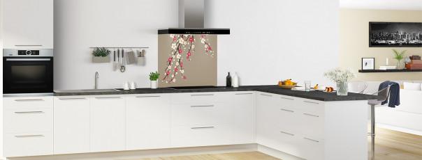 Crédence de cuisine Arbre fleuri couleur marron glacé fond de hotte motif inversé en perspective