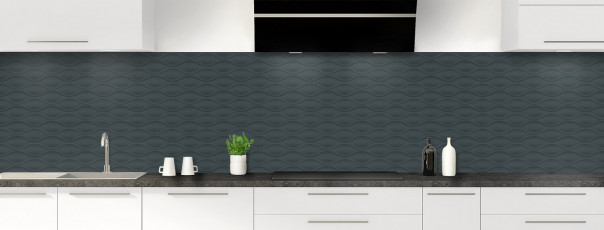 Crédence de cuisine Motif vagues couleur gris carbone panoramique