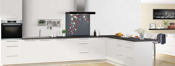 Crédence de cuisine Arbre fleuri couleur gris carbone fond de hotte motif inversé en perspective