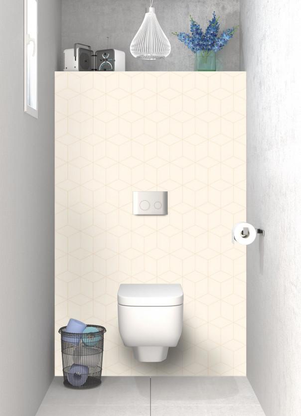 Panneau WC Cubes en relief couleur magnolia