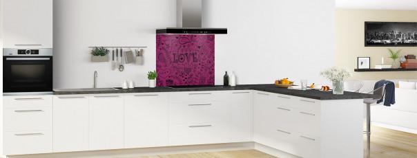 Crédence de cuisine Love illustration couleur prune fond de hotte en perspective