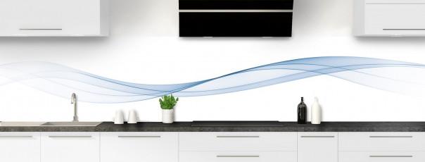 Crédence de cuisine Vague graphique couleur bleu azur panoramique motif inversé