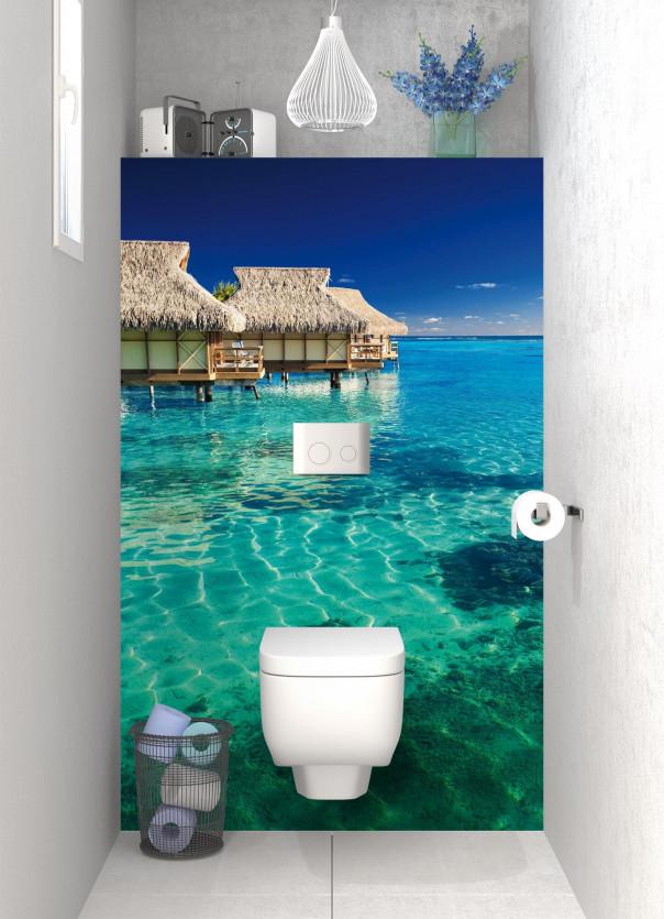 Panneau WC Maison pilotis et lagon