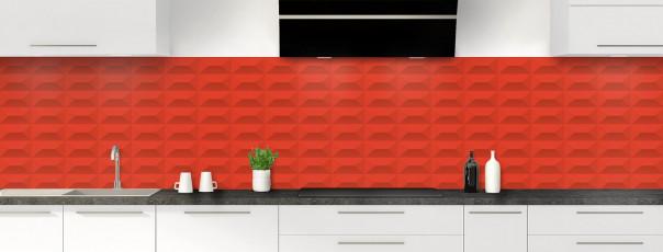 Crédence de cuisine Briques en relief couleur rouge vif panoramique