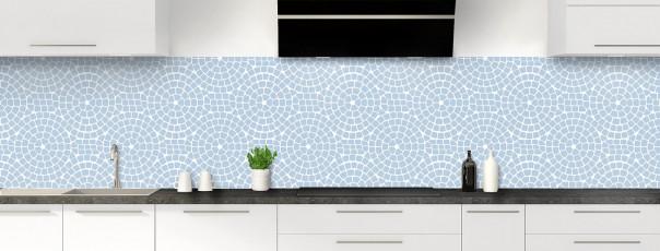 Crédence de cuisine Mosaïque cercles couleur bleu azur panoramique