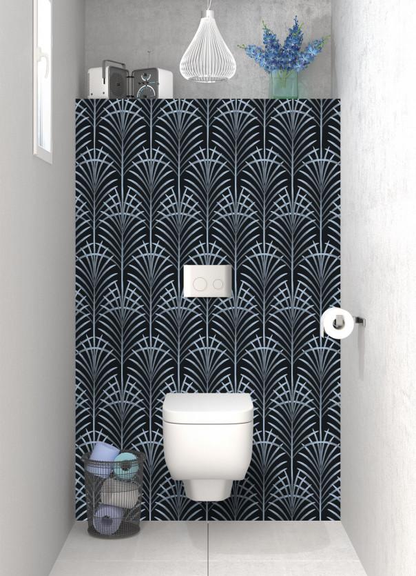 Panneau WC Feuilles de paume couleur bleu azur