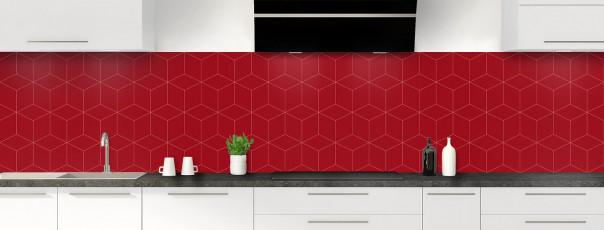 Crédence de cuisine Cubes en relief couleur rouge carmin panoramique