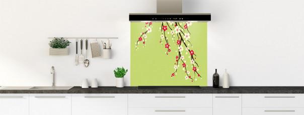 Crédence de cuisine Arbre fleuri couleur vert olive fond de hotte