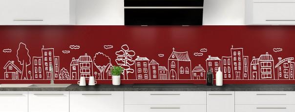 Crédence de cuisine Dessin de ville couleur rouge pourpre panoramique