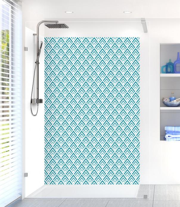 Panneau de douche Ecailles  couleur bleu canard