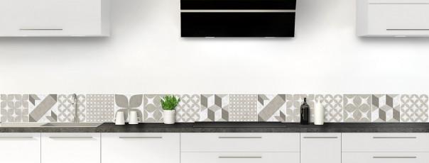 Crédence de cuisine Carreaux de ciment patchwork taupe dosseret