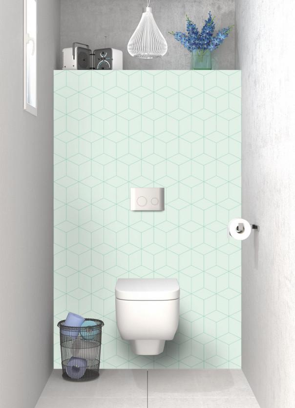 Panneau WC Cubes en relief couleur vert eau