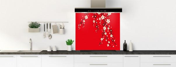 Crédence de cuisine Arbre fleuri couleur rouge vif fond de hotte